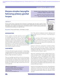 Herpes Viral Shedding Over Time by Herpes Simplex Laryngitis Following Primary Herpes Pdf