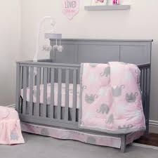 Coral And Mint Crib Bedding by Nojo The Dreamer Collection Elephant Pink Grey 8 Piece Crib