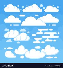 100 Flat Cloud Beautiful Flat White Clouds On Blue Sky Background