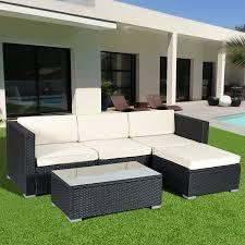 Gymax Rattan Wicker Table Shelf Garden Sofa 5 PCS Patio Furniture