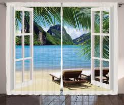 gardine schlafzimmer kräuselband vorhang mit schlaufen und haken abakuhaus strand palmen und meer sommer kaufen otto