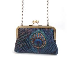 blue peacock feather clutch bag medium size purse with chain handl