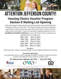 JEFFERSON COUNTY Section 8 Waiting List Opening in May Ohio