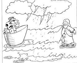 Coloring Page Jesus Walks On Water At Walking Bible Colorine