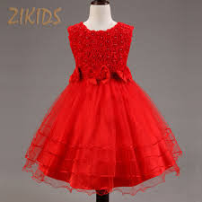 popular red and white flower dress for kids buy cheap red and