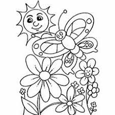 Spring Day Flowers Coloring Page