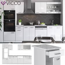 vicco küche r line 300 cm weiß hochglanz