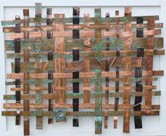 A Unique Large Size Copper Weave Metal Art Panel Offset Mounted On Black Acrylic Base