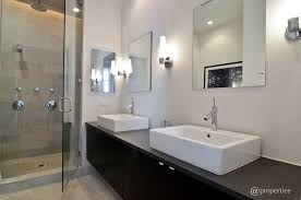 contemporary 3 4 bathroom with wood counters vinyl floors