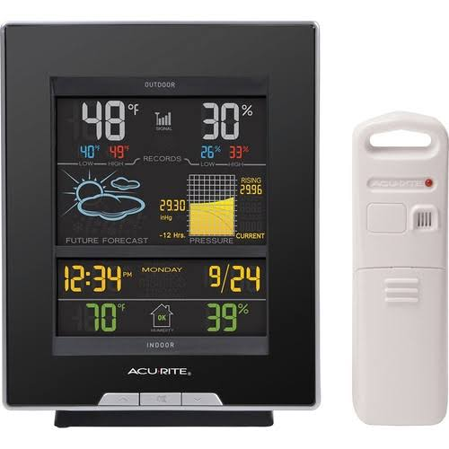 Acurite Color Weather Station - with Forecast and Temperature, Black