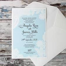 Beautiful Wedding Day Invitation With Aqua Blue Background White Printed Floral Lace