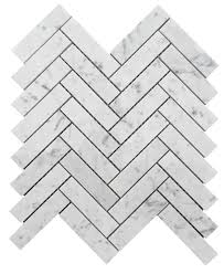 bianco honed 1x4 herringbone marble mosaic tile