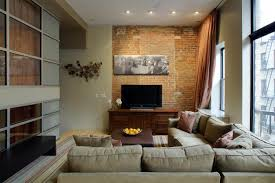 Living Room Living Room Nyc With Tv And Grey Sofa And Cushion With Brown Table