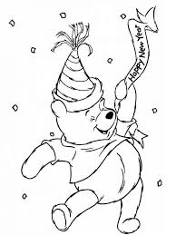 Winnie The Pooh Happy New Year Coloring Pages For Kids Printable