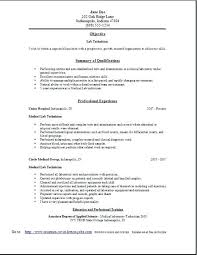Sample Resume For Medical Laboratory Technician Examples