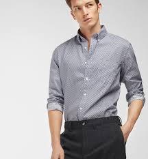 argyle print slim fit shirt casual shirts men massimo dutti