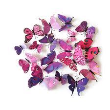 oblique unique 3d schmetterlinge 12er set wandtattoo wandsticker wanddeko pink lila