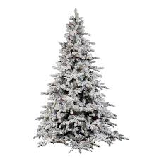 Vickerman Flocked White On Green PVC 9 Foot Utica Fir Artificial Christmas