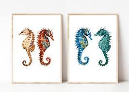din a4 kunstdruck 2 teilig ungerahmt seepferdchen seahorse