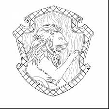 Marvelous Harry Potter Gryffindor Crest Coloring Page With And