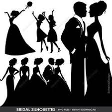Bride Groom Silhouettes Clipart Wedding Couples