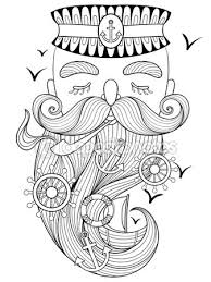 Vector Zentangle Old Sailor Smoking A Pipe Captain Fisherman De Stock