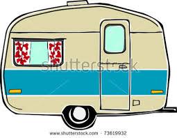 Retro Happy Hippie Vintage Travel Trailer Camper Vector Illustration