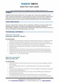 Sales Floor Team Leader Resume Format