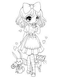 Cute Chibi Coloring Pages To Print Anime Girl Food