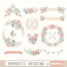 Floral Clipart Romantic Wedding With