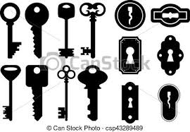 Illustration Of House Keys And Keyholes In Black Color Vector