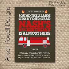 Fire Truck, Fire Station, Firemen Birthday Party Invitation - DYI ...