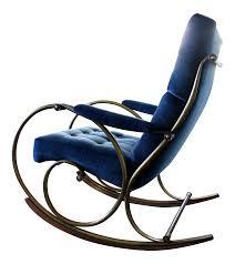 100 Navy Blue Rocking Chair 1970s MidCentury Modern Woodard Velvet Brass Rocker
