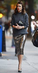 Skirt Tumblr Midi Sequin Sequins Stripes Striped Sweater Grey Alexa Chung Pumps Pointed Toe