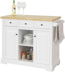 sobuy fkw101 wn kücheninsel mit arbeitsplatte küchenwagen mit 2 türen und offenen regalfächern küchenschrank mit 3 schubladen sideboard auf rollen