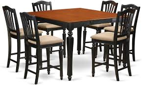 Amazon.com: CHEL7-BLK-C 7 Pc Counter Height Table Set-Square ...