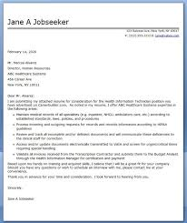 Cover Letter Health Information Technician