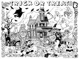Impressive Haunted House Coloring Pages To Print Halloween Trick Or Treat Adult