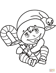 Cute Christmas Elf With Candy Cane Coloring Page Free Printable Within Art Director Game