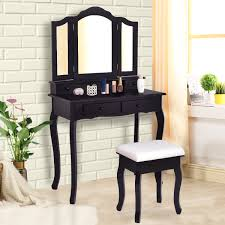 Shop Costway Vanity Wood Makeup Dressing Table Stool Set Jewelry