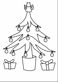 Outstanding Christmas Tree Outline With Coloring Pages Printable And Ornaments