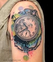 Abstract Watercolor Time Piece Tattoo