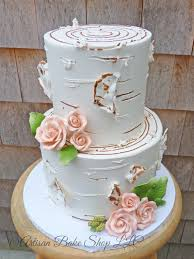 50th Anniversary Cake Two Tiered Rustic Birch Tree Log Woodsy