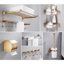 Piece Antique Brass Wall Mount Gold Bathroom Accessories Set