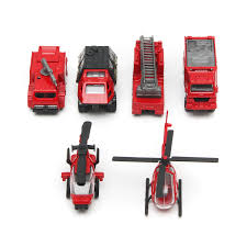 100 Mini Fire Truck 6Pcs 187 Scale Red Series Alloy Car Helicopter