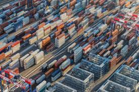 100 Shipping Containers California Los Angeles USA August 16 2016 Afternoon Aerial