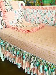 Bratt Decor Crib Skirt by Coral Pink Gold White Feather Aztec Arrow Crib Bedding Baby