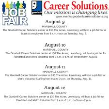 Job Fairs August 9 12 in lewisburgtn