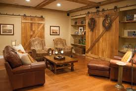 Barn Door Shelves Basement Farmhouse With Family Room