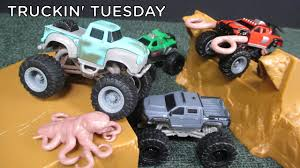 Truckin' Tuesday Monster Trucks Movie Toys! Ragin' Red Big Rock Jump ...